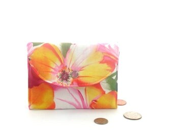 Pink flowered wallet, small pink wallet, flowered coin purse, pink snap wallet, pink cardholder, pink gift card holder, pink summer wallet
