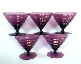 VINTAGE PURPLE Sherbet Champagne Glasses - Amethyst Glass - Crystal Plum Glass Crystal