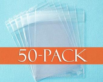 """50 Cello Bags,  4.75 x 5.75 Inch Resealable Cello Bags, (4 3/4""""  x 5 3/4"""")"""