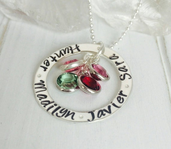 Personalized grandmother necklace, Sterling silver mother necklace, 4 name necklace, Birthstone jewelry, Nana necklace, Name plate necklace