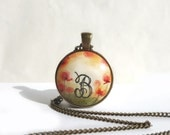 Hand Painted Initial Necklace Monogram B Necklace B, Original Poppies Painting Personalized Jewelry, Hand Painted Initial Pendant, Artdora