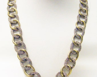 Large Links Antiqued Bronze Chain w/Alternating Rhinestone Oval Loops Necklace