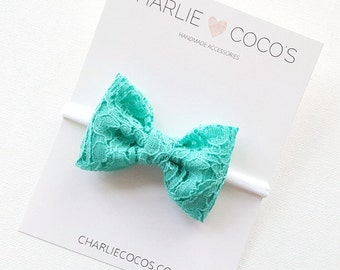 Baby/Girls Green Lace Bow Headband, Green Lace Hair Bow Clip by charliecocos