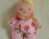 "SALE! Fretta's Pocket Baby Doll. 16 cm / 6.5 "" Waldorf Inspired Miniature Baby Doll.  Soft Sculptured Cloth Baby. Baby's first doll"