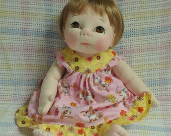 "SALE! Fretta's OOAK life size 48 cm / 19"" Soft Sculpture Baby.  Strawberry Blonde Hair, Brown Eyes. Child-SafeTextile Baby Doll"