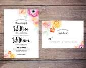 Watercolor Floral Wedding Invitation Suite, Flowers, Modern, Invites, DiY Wedding – Willow