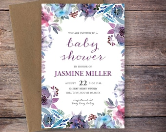 Printable Baby Shower Invitation Watercolor Floral Celebrate Mommy-to-Be Invite, Watercolor Flowers, Printable Digital File - Jasmine