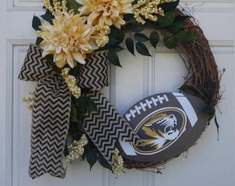 MU Wreath, Mizzou Football Wreath, University of Missouri Wreath, Front Door Wreath, Tigers Wreath,College Football Wreath, Missouri
