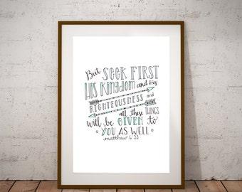 Seek First His Kingdom-  Matthew 6:33