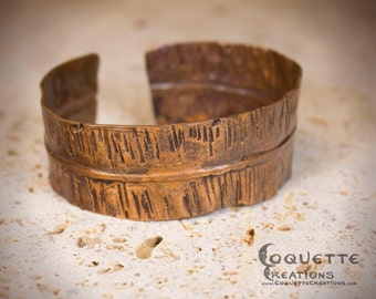 Aged Hammered Copper Cuff Bracelet