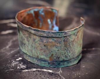 Aged Etched Spiral Copper Cuff Bracelet