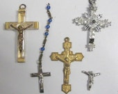 Vintage Crosses Crucifix, One with Relic, Another missing Rhinestones, see the 4th picture, rosesandbutterflies, traditional, crafts