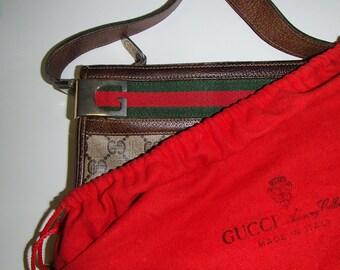 VINTAGE GUCCI Bag CrossBody or Shoulder Bag In Beige  Monogram Logo PVC with Red Green Stripe Gold Gucci Hardware  with Dust Bag