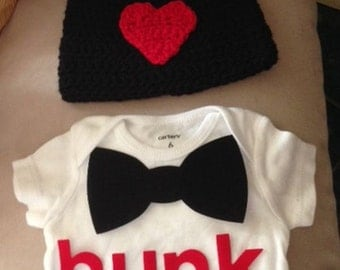 """Valentine's Day outfit for baby boys - """"Hunk"""" and bow tie onesie and matching crochet black w/ red heart beanie hat"""