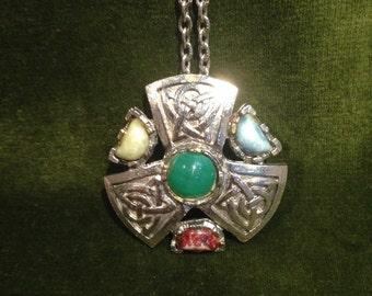 Vintage Scottish /Celtic Shield Design Chain Necklace Pendant /1970-s