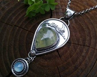 Prehnite and Blue Chalcedony Sterling Silver Pendant with Rabbit. Nature Inspired Artisan Necklace. Metalworked Layered Bunny and Carrots.
