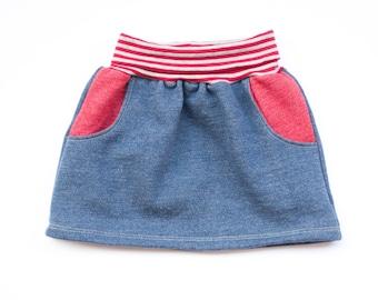 Girls skirt organic sweat, skirt with pockets, warm skirt, blue skirt, toddler skirt