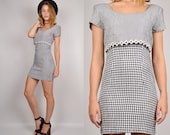 HUGE 10 dollar SALE 90's Gingham Bodycon Mini Dress Black White Plaid