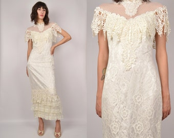 Vintage Wedding Dress White Lace Gown bodycon off the shoulder