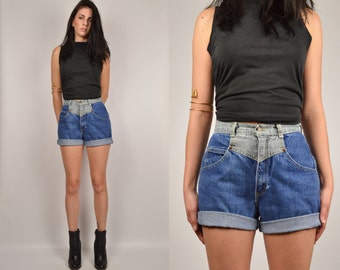 80's High Waisted Denim Cuff Jean Shorts medium / large