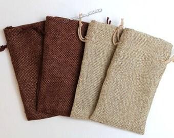"60pcs -Asst ~Natural & Dark Burlap Organza bags -3x5"" w/Drawstring, Vintage Gift Bags, Wedding Favor Sacks, Party Gift Bags, Jute Party Bags"