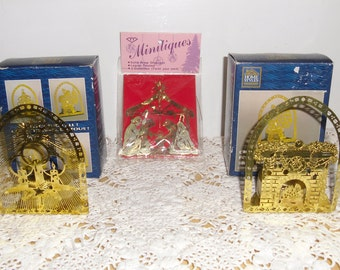 Vintage Christmas Ornaments - 2 Christmas Votive Holders, Original Boxes, Christmas Nativity Brass Ornament, Original Packaging