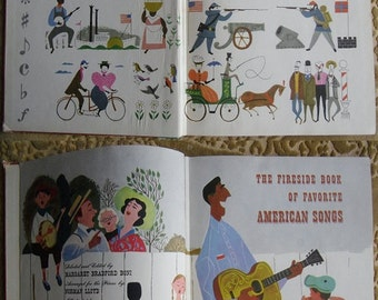 Vintage Music Book - Fireside Book of Favorite American Songs, Simon and Schuster, First Edition 1952, Illustrations by Aurelius Battaglia