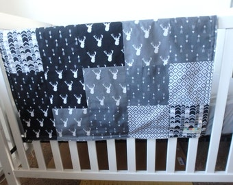 Black and Gray Deer Patchwork Baby Minky Blanket or Quilt