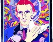 Spirit of Tesla Poster- Nikola Tesla with pigeons-  Colorful Psychedelic Art Poster-  GENIUS Inventor Art