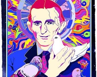 SALE Spirit of Tesla Poster- Nikola Tesla with pigeons-  Colorful Psychedelic Art Poster-  GENIUS Inventor Art