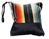 Santa Fe Blk lthr Clutch -Handmade Bohemian Fabric and Leather -Environmentally Conscious- purse/clutch/pouch/hand bag/designer/vintage/tote