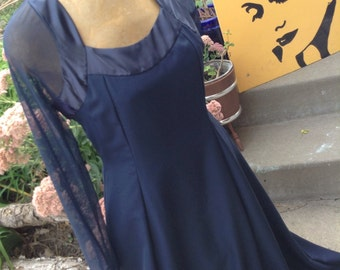 Vintage 80s Blue Prom Dress Formal size 14 with sheer sleeves free shipping