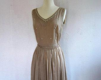 SALE Vintage 1950's Dress// Beige Sheer 50's Day Dress// Jerry Gilden New York Vintage Dress