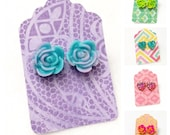 Acrylic Flower and Heart stud earrings perfect for young girls in vibrant candy colors by Jules Jewelry Box