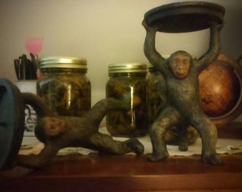 Vintage Cast Iron Monkey Candle Holders