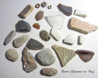 Indian Beads // Fossils // Beach Rocks // Lake Michigan // Craft Supplies// Fossil Collectors //