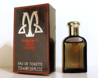 Vintage 1980s Maxim's Pour Homme 0.25 oz Eau de Toilette Mini Miniature Cologne and Box
