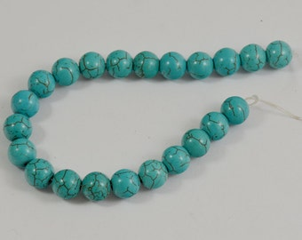 Round Ball Turquoise Gemstone Beads ---- 10-11mm ---- 22Pieces ---- 8inch strand