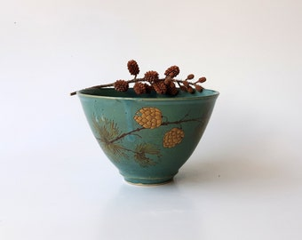 Ceramic Bowl in Green with Pine Branches with Gold Pinecones, Pottery Cereal Bowl, Ice Cream Bowl by Cecilia Lind, StudioLInd