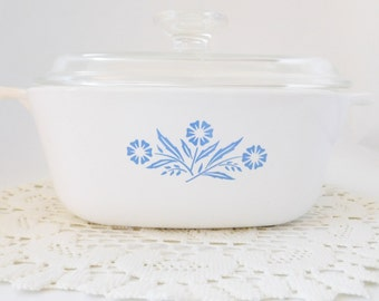 Corningware Blue Cornflower Casserole Dish- 1.5 qt Blue Cornflower Casserole - Covered Casserole Dish, Blue Cornflower
