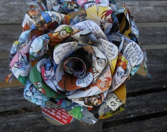 Mad Love Comic Bouquet.  Upcycled Comics. First Anniversary, Home Decor, Wedding Bouquet, Birthday Gift.