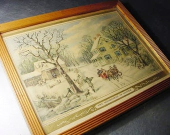 CURRIER and IVES Mid Century Vintage Print Homestead in Winter