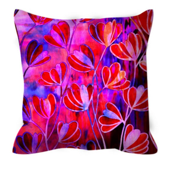 Blue Microsuede Throw Pillows : EFFLORESCENCE Pink Red Blue Floral Art Suede Throw Pillow