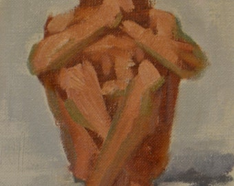 original oil painting 6x8 inch figure sketch