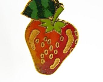 Strawberry Pin - Vintage Cloisonne Brooch - BR004