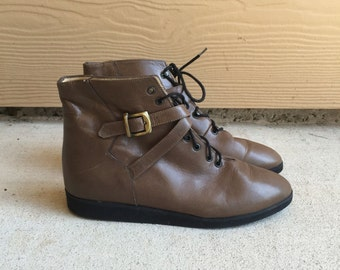 90's Grunge Brown Leather Buckle Hipster Granny Lace Up Ankle Boots // Women's 5.5