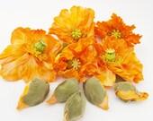Orange Poppy Flowers - 10 Artificial Silk Blooms & Buds - Millinery, Home Decor, Wreath Supplies, Headband, Hair Accessories, Fall Wedding