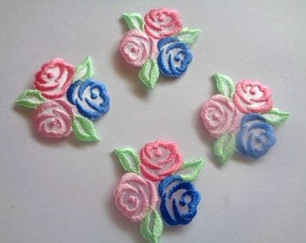 Tri-Rose Embroidered Iron - On Applique, Multi Pastels, x 4, For Romantic & Victorian Crafts