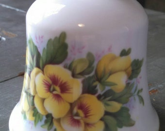 Vintage ceramic bell mid century ceramic bell with floral painting and gold trim