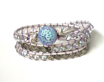 Soulmates - Iridescent Glass Bead and White Pearlescent Leather Wrap Bracelet